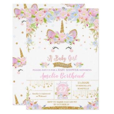 floral cute unicorn baby shower invitation girl