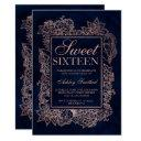 floral faux rose gold navy watercolor sweet 16 invitation