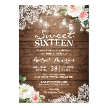 Small Floral Lace Mason Jar Lights Sweet 16 Birthday Invitation Front View