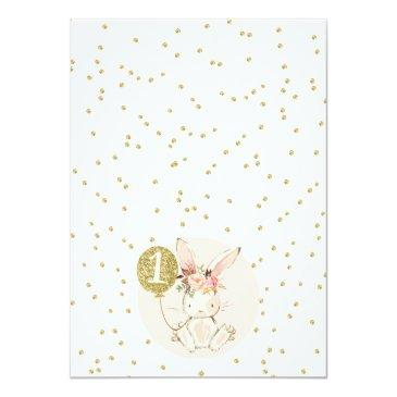 Small Floral Pink Gold Bunny 1st Birthday Invitation Back View