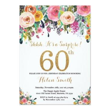 Small Floral Surprise 60th Birthday Invitation Gold Front View