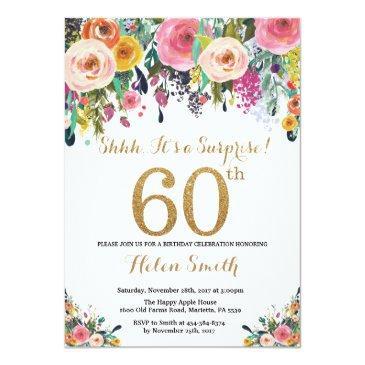 floral surprise 60th birthday invitation gold