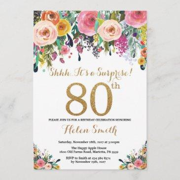 floral surprise 80th birthday invitation gold
