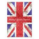 floral uk union jack flag polka dots sweet 16 invitation