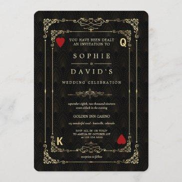 flourish gold art deco casino vegas poker wedding invitation