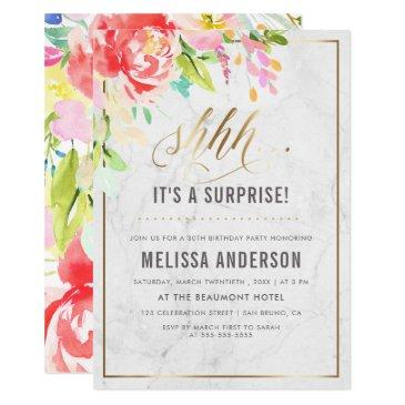 flowers & marble | gold surprise birthday party invitations