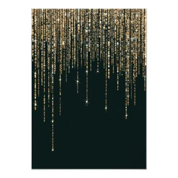 Small Forest Green Gold Glitter Fringe Curtain Sweet 16 Invitation Back View