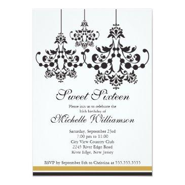 Small Formal Chandelier Sweet 16th Birthday Party Invitation Front View