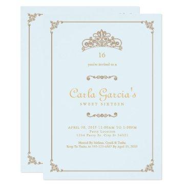 formal, gold sweet 16 invitations