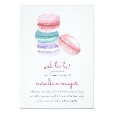 Small French Macarons Sweet Sixteen Party Invitation Front View