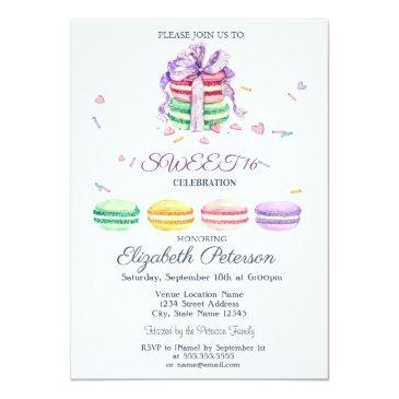 Small French Macarons Watercolor Striped Sweet 16 Invitation Front View