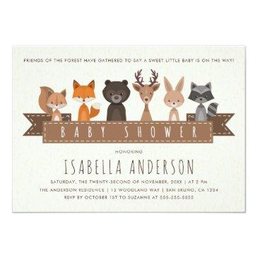 Small Friends Of The Forest Woodland Animals Baby Shower Invitations Front View