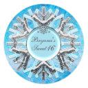 frozen ice winter wonderland sweet 16 invitations