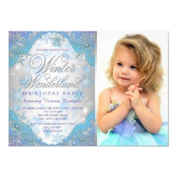 frozen winter wonderland birthday party invitation
