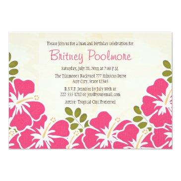Small Fuchsia Hibiscus Hawaiian Birthday Party Invitations Front View