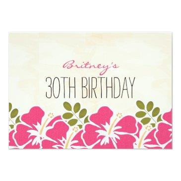 Small Fuchsia Hibiscus Hawaiian Birthday Party Invitations Back View