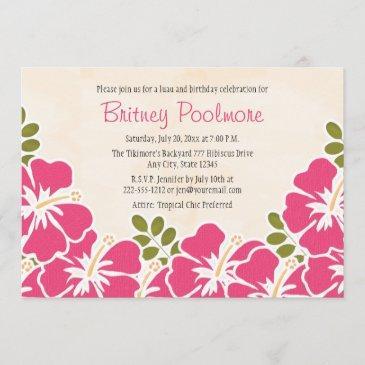 fuchsia hibiscus hawaiian birthday party invitation