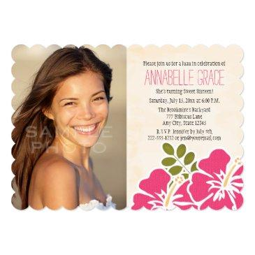 fuchsia hibiscus hawaiian luau sweet 16 photo invitation