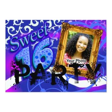 Small Funky Sassy Sweet 16 Photo Party Invitation Front View