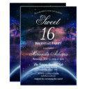 galaxy sweet sixteen birthday party invitation