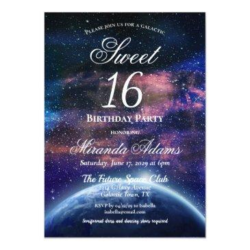 Small Galaxy Sweet Sixteen Birthday Party Invitation Front View