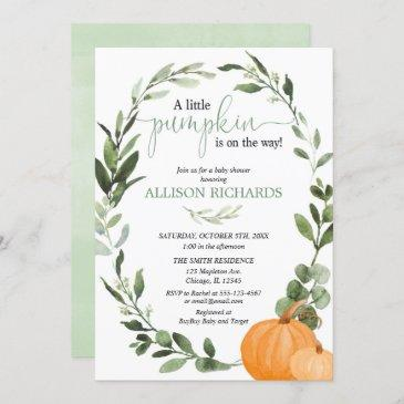 gender neutral fall pumpkin eucalyptus baby shower invitation