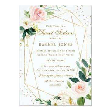 Small Geometric Blush Gold Floral Sweet Sixteen Invite Front View