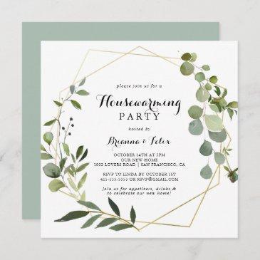 geometric gold tropical green housewarming party invitation