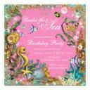 girl under the sea birthday party invitations