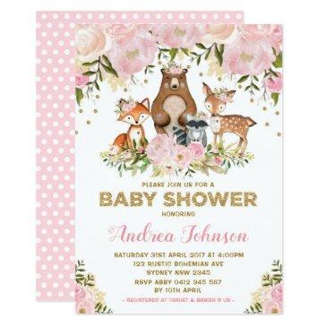 girl woodland baby shower forest animals pink gold