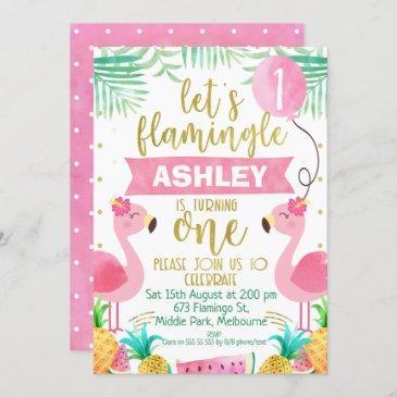girls flamingo first birthday invitation