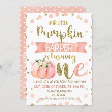 girls pink pumpkin first birthday invitation