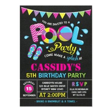 Small Girls Pool Party Birthday Chalkboard Invitation Front View