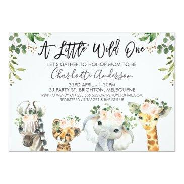 Small Girls Safari Animals Baby Shower Invitation Front View