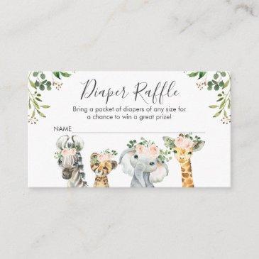 girls safari animals diaper raffle invitations insert