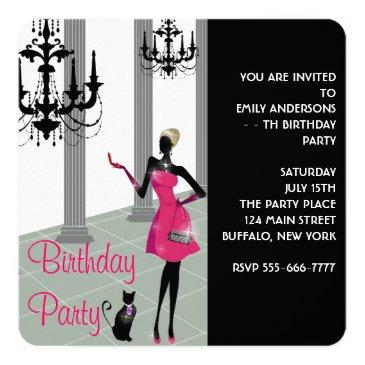 Small Girls Womans Any Number Birthday Party Invitations Front View