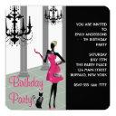 girls womans any number birthday party invitations
