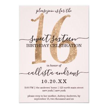 Small Girly Chic Faux Gold Glitter Blush Pink Sweet 16 Invitation Front View