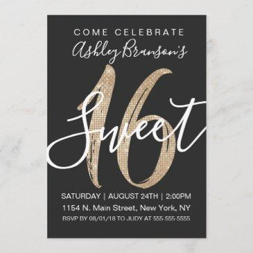 girly glam black faux gold sequin glitter sweet 16 invitation