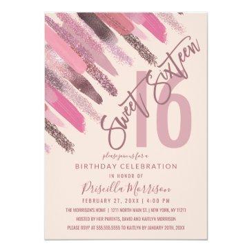 girly glitter paint brushstrokes pink sweet 16