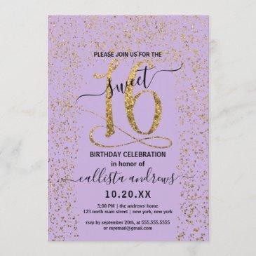 girly lavender gold confetti border sweet 16 invitation