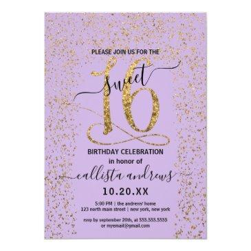Small Girly Lavender Gold Confetti Border Sweet 16 Invitation Front View