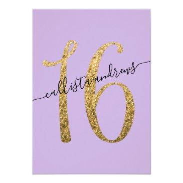 Small Girly Lavender Gold Confetti Border Sweet 16 Invitation Back View