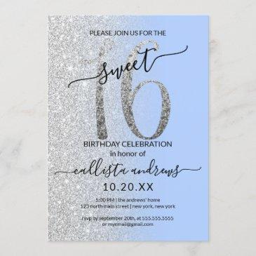 girly modern blue silver glitter ombre sweet 16 invitation