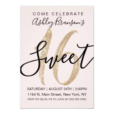 girly pink faux gold sequin glitter sweet 16 invitation