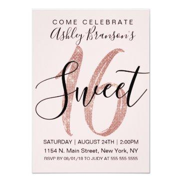 girly pink rose gold sequin glitter sweet 16 invitation
