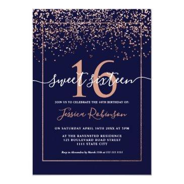 Small Girly Rose Gold Confetti Navy Blue Chic Sweet 16 Invitation Front View