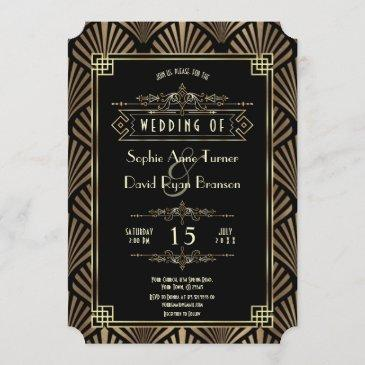 glam art deco black gatsby 1920s style wedding invitation