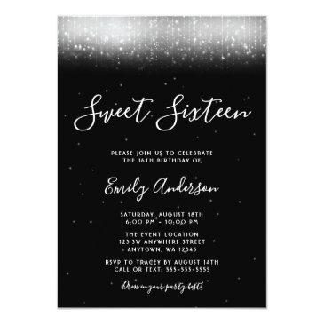Small Glam Black And White Sweet 16 Invitation Front View
