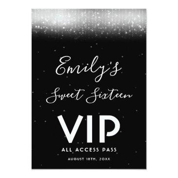 Small Glam Black White Sweet 16 Invitation Vip Pass Badge Front View